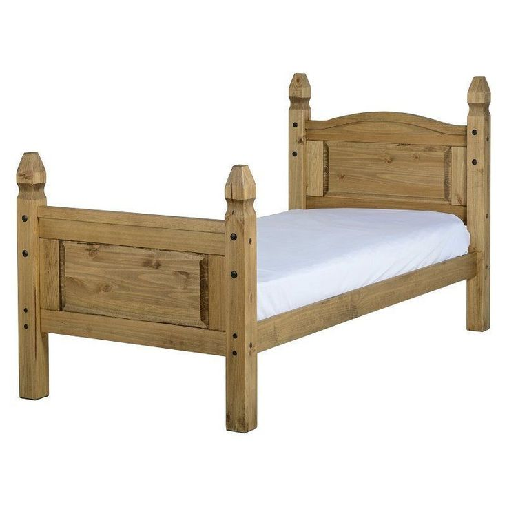Single Size Bed Frame Natural Solid Slat Headboard Pine Wooden Bedroom Furniture