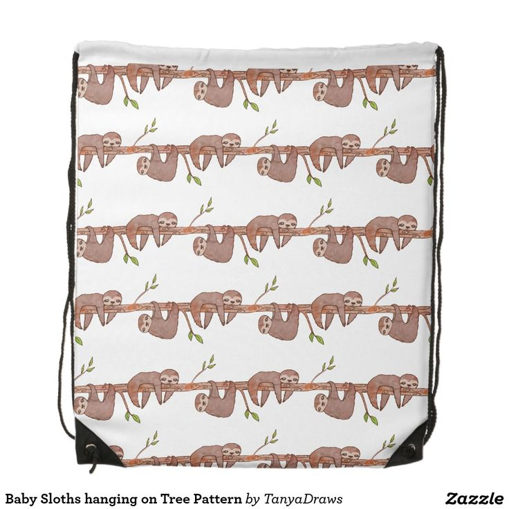 Baby Sloths hanging on Tree Pattern Backpack