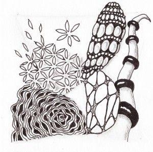 Tile met de tangles: diva dance, quandary, 'n zeppel, barberpole en purk