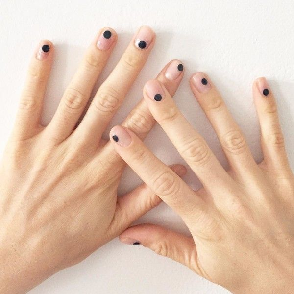 Nude + black dot nail art