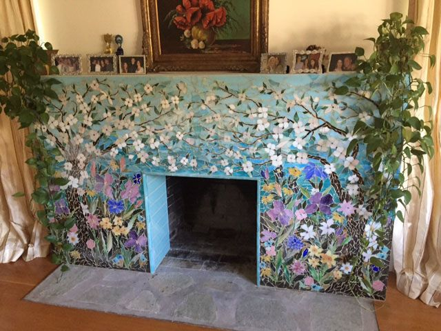 Mosaic Fireplace Surround - Dogwood Motif | Designer Glass Mosaics | Designer Glass Mosaics
