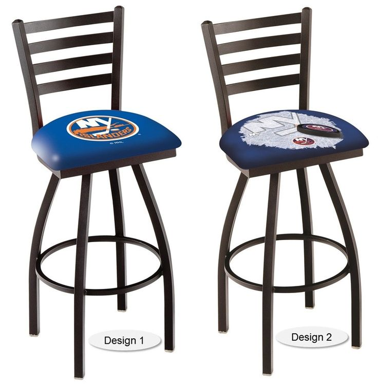 The officially licensed NHL New York Islanders Bar Stool carries a defined black Ladder-style-back that adds comfort and sophistication. Comes in 2 heights. Visit sportsfansplus.com for details.