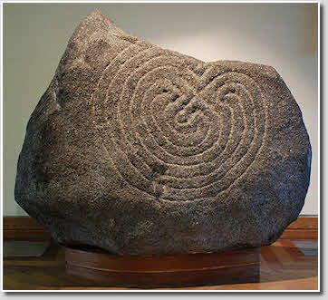 Hollywood stone, County Wicklow, Ireland. One of the oldest labyrinth depictions known in Ireland.