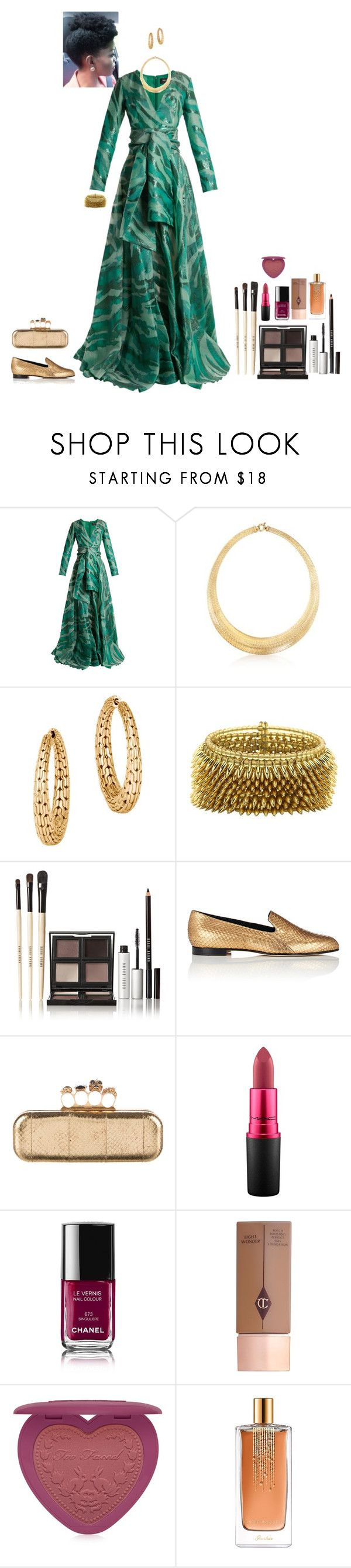 """""""green evening gown (Aoife)"""" by shulamithbond on Polyvore featuring Azzaro, Ross-Simons, John Hardy, Bobbi Brown Cosmetics, Manolo Blahnik, Alexander McQueen, MAC Cosmetics, Chanel, Charlotte Tilbury and Too Faced Cosmetics"""