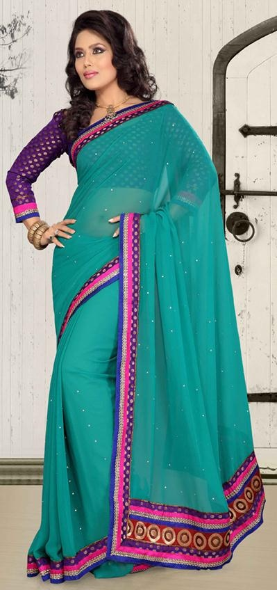 $37.47 Teal Blue Chiffon Stone and Resham Work Simple Saree 24153