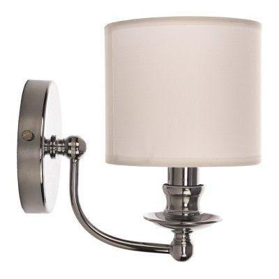 """Kinkiet ABU DHABI W01888WH  Tradycyjny kształt lampy ściennej, idealne proporcje i doskonałe ozdobniki – subtelne, a jednocześnie przykuwające oko. Chromowane wykończenie, mocowanie źródeł światła na świecznikach oraz biały abażur z tkaniny daje iście amerykański """"look"""", który zdobywa coraz większą rzeszę miłośników."""