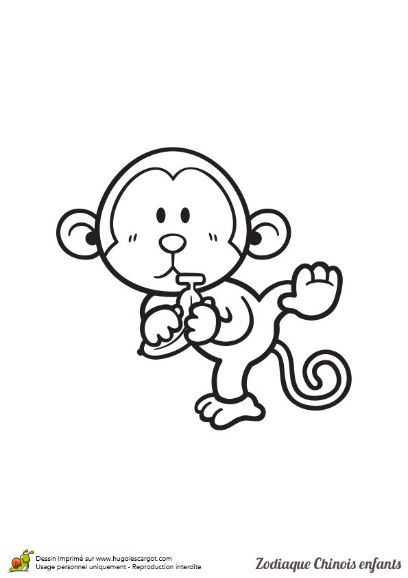 Coloriage d'un bébé singe, signe zodiaque chinois