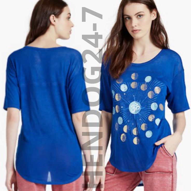 LUCKY BRAND OM PLANET STARS WOMEN'S SCOOP NECK 3/4 SLV TEE SZ XS-3XL #LuckyBrand #GraphicTee