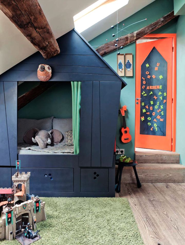 What a fun playroom! Get the look with our Lullaby Breeze and Sapphire Wall Paints.