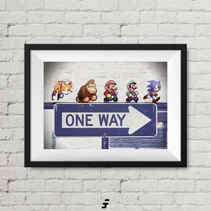 Retro Games Pixel Characters Super Mario Sonic Donkey Kong Nintendo Sega Print