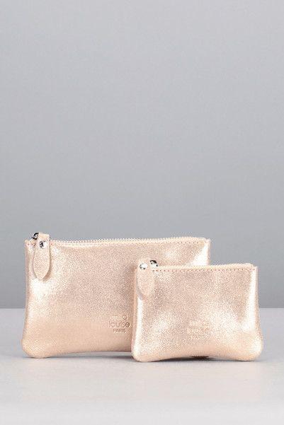 Porte-monnaie rose pailleté cuir Brin Spark Mila Louise sur MonShowroom.com