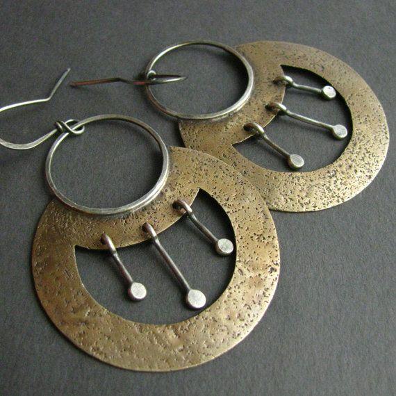Large Earrings, Egyptian Inspired Sterling Silver And Bronze Earrings, Mixed Metal Jewelry, Tribal Earrings, Nefertiti, Metalwork Jewelry