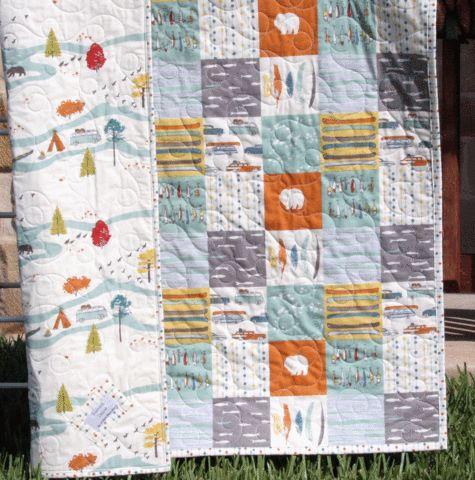 Boy Quilt, Feather River, Organic Rustic Camping, Nursery Bedding - Sunnyside Designs - 1
