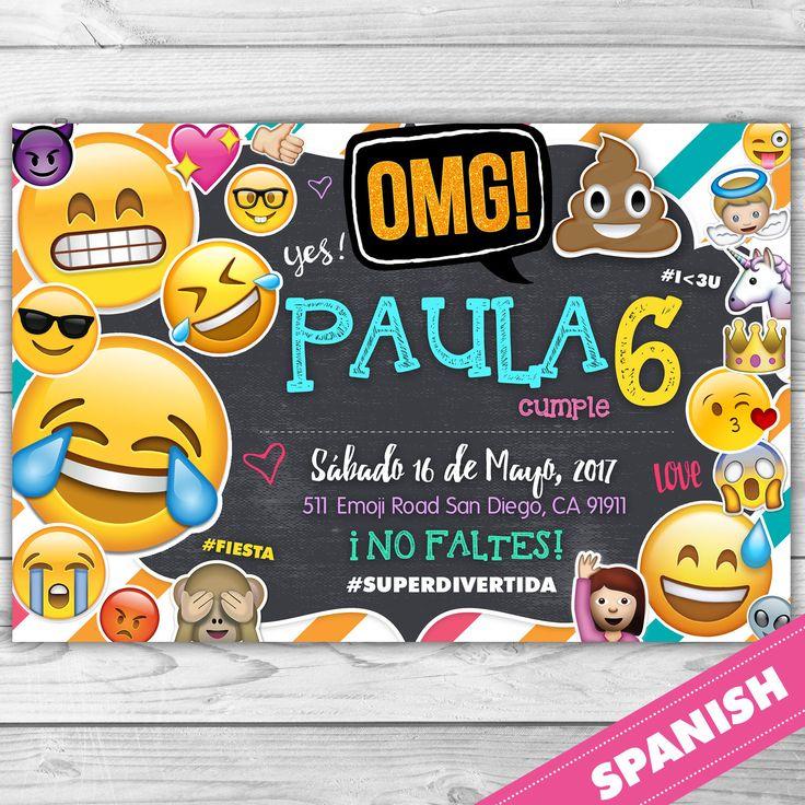 EMOJI Invitacion - EMOJI- OMG - Invitacion Emoji - Fiesta Emoji - Carita Feliz -  Español personalizada para imprimir by DsInvitations on Etsy