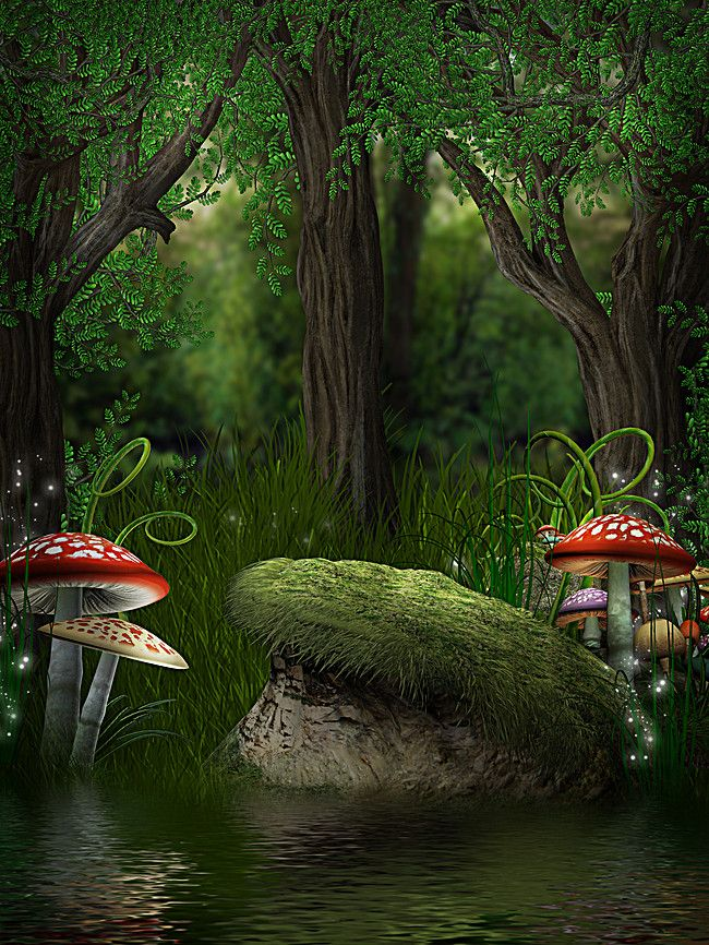 Magic Mushroom Forest Green Background In 2020 With Images Magic Background Magic Forest Forest Fairy