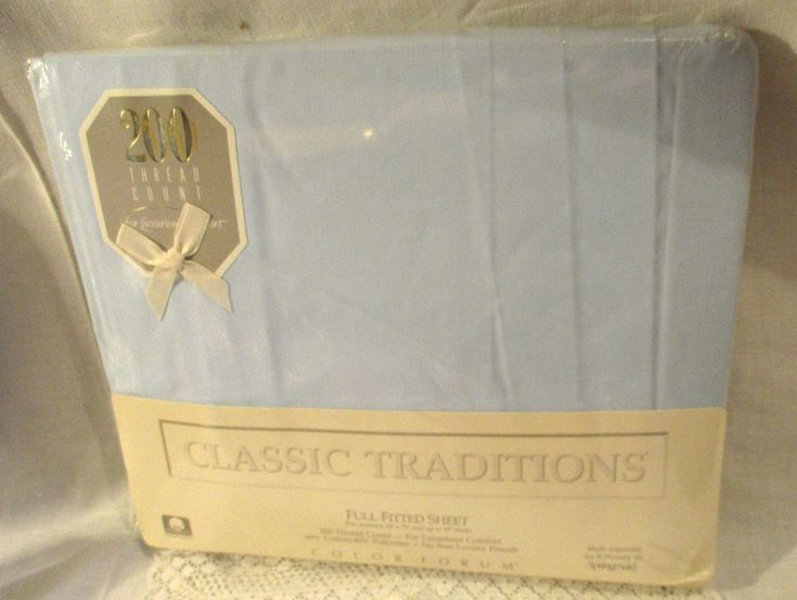 SPRINGMAID VINTAGE CLASSIC TRADITIONS FULL FITTED SHEET 200 THREAD COUNT LT BLUE