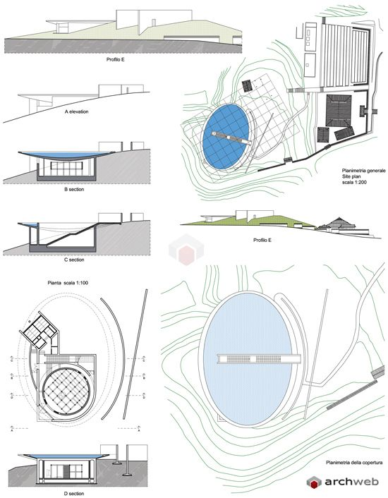 Water Temple Tadao Ando : plan/sections/elevation