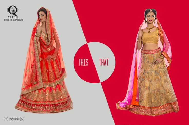 Goddess in gold or refined in red. What's your favourite avatar. #QueensEmporium #EthnicWear #ThisorThat #Lehenga