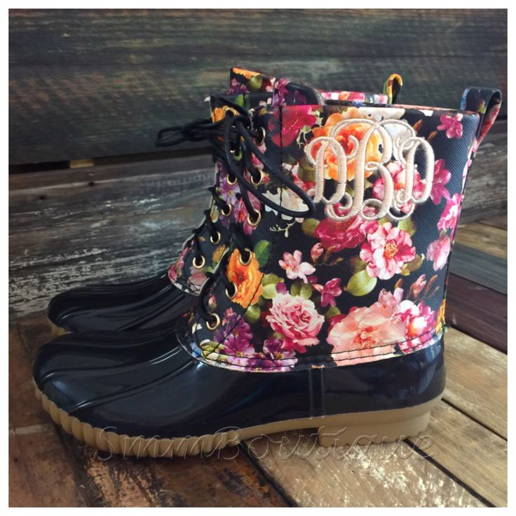 Monogrammed womens floral duck boots by OakandBlossom on Etsy https://www.etsy.com/listing/275461386/monogrammed-womens-floral-duck-boots