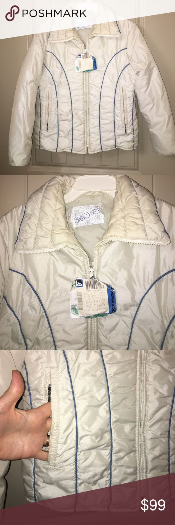 "Vintage SWING WEST White Ski Jacket sz M This is a great Vintage SWING WEST White Ski Jacket in a sz M , bust 38"", overall length 23"", jacket has blue accent stripes! Great retro jacket complete with 1997 ski lift ticket attached! Good used condition! I ship fast! Happy poshing friends! Swing west Jackets & Coats"