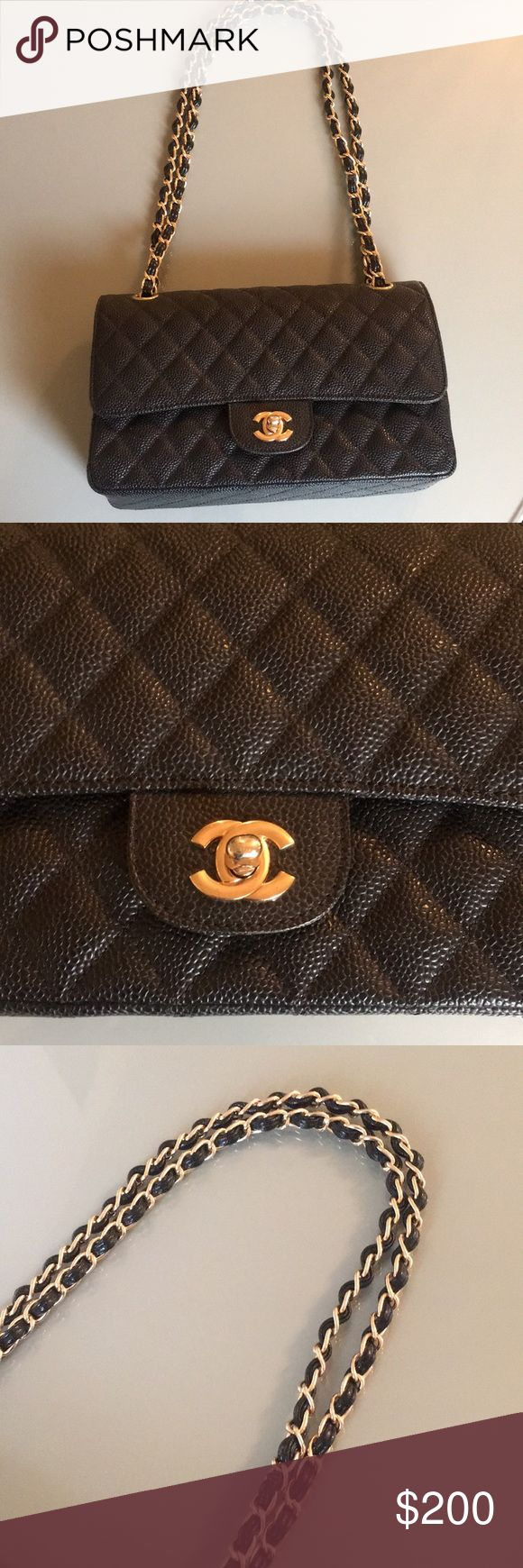 Chanel flap bag caviar leather Inspired!! real calfskin leather Small size CHANEL Bags