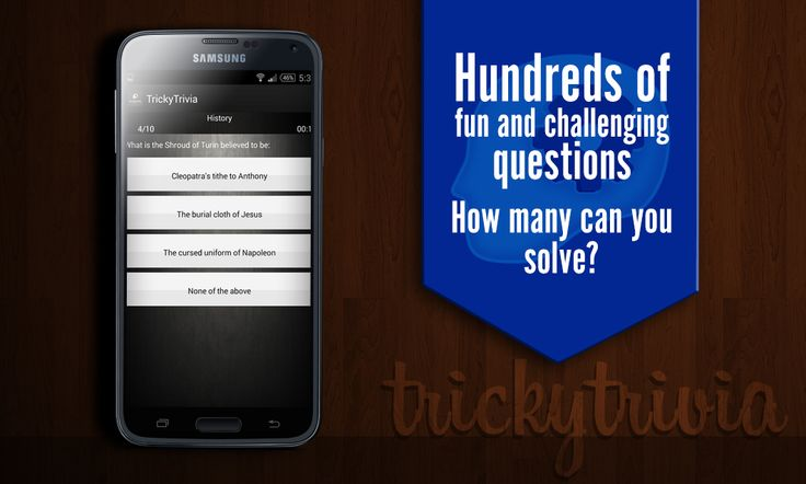 Enjoy this new experience of playing trivia game. Lots of questions to play..try answering your best! Improve your Genrala Knowledge Now !Tricky Trivia is completely free to play. No inapp purchases.Train your brain and amuse your friends for hours with TrickyTrivia - GK Quiz 2015 ! Download it Today! Get knowledge from fun! Enjoy thousands of GK Quiz Questions and answers on the go ! https://play.google.com/store/apps/details?id=com.pidigi.trickytrivia #Trivia #Knowledge #Androidapp