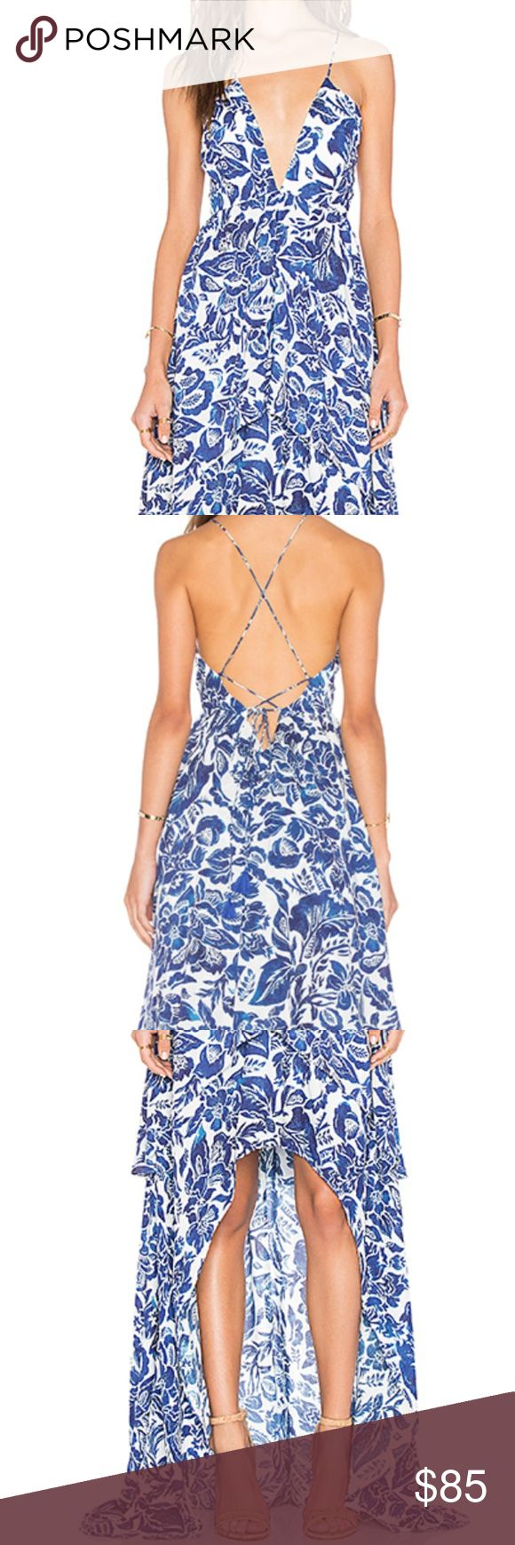 """Jet Set Diaries Indigo Jungle Maxi Dress L Gorgeous blue and white floral maxi dress from Jet Set diaries is perfect for all your luxe destinations. This dress is partially lined and has a zip closure. Straps are adjustable. It has tiered layers and an adjustable hem. Neckline to shortest hem measures approx 30"""" and to longest hem approx 56"""" in length. Dress has only been worn once and is in excellent condition! The Jetset Diaries Dresses"""