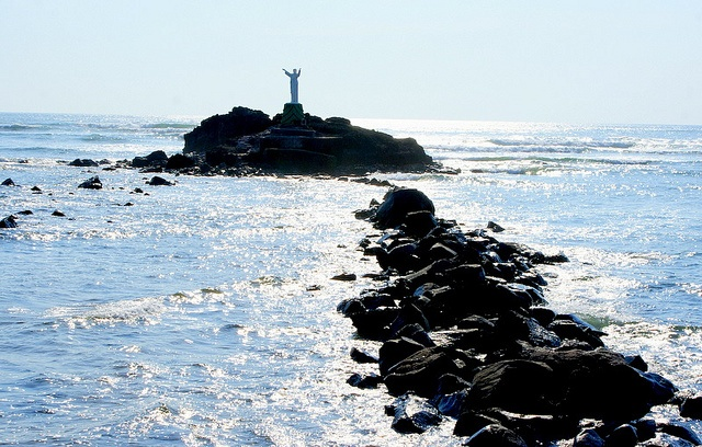 Near Acajutla, El Salvador.  At low tide you can walk out and sit at the base of the statue.