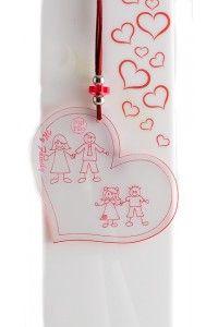 Collana con cuore in plexiglass disponibile con i vari componenti della famiglia.