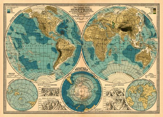 Map of the world from 1899 - PRINT ----------- Restoring the beauty of this map was a chalenge. Lots of stains and scratches had to be removed.
