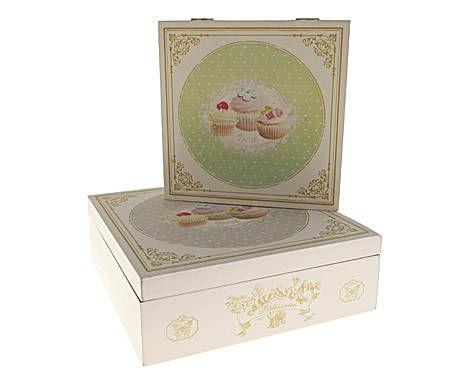 CUISINE PROVENZALE: Set di 2 scatole in legno con cupcakes - 24x8 cm