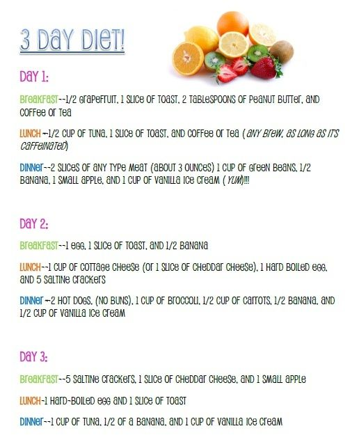 3-day military diet - Remember this for post baby diet. I already ate an incredibly small amount last time, but maybe I'd lose more eating the right types of food.