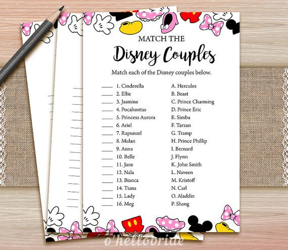 ★ This listing is for a DIGITAL INSTANT DOWNLOAD FILE only. No physical items will be shipped ★ Printable Disney Bridal Shower Disney Couples Game                                                                                                                                                                                 More
