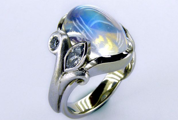 Hand Sculpted Rainbow Moonstone Ring with Diamonds