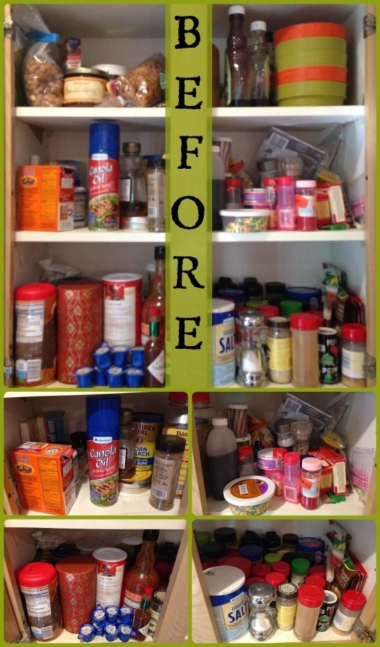 Organized Kitchen Cabinet for Spices BEFORE StuffedSuitcase.com