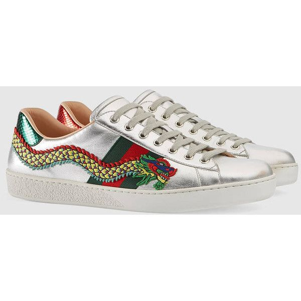 Gucci Ace Embroidered Sneaker ($830) ❤ liked on Polyvore featuring men's fashion, men's shoes, men's sneakers, gucci mens shoes, mens leather sneakers, mens leather shoes, gucci mens sneakers and mens snake skin shoes