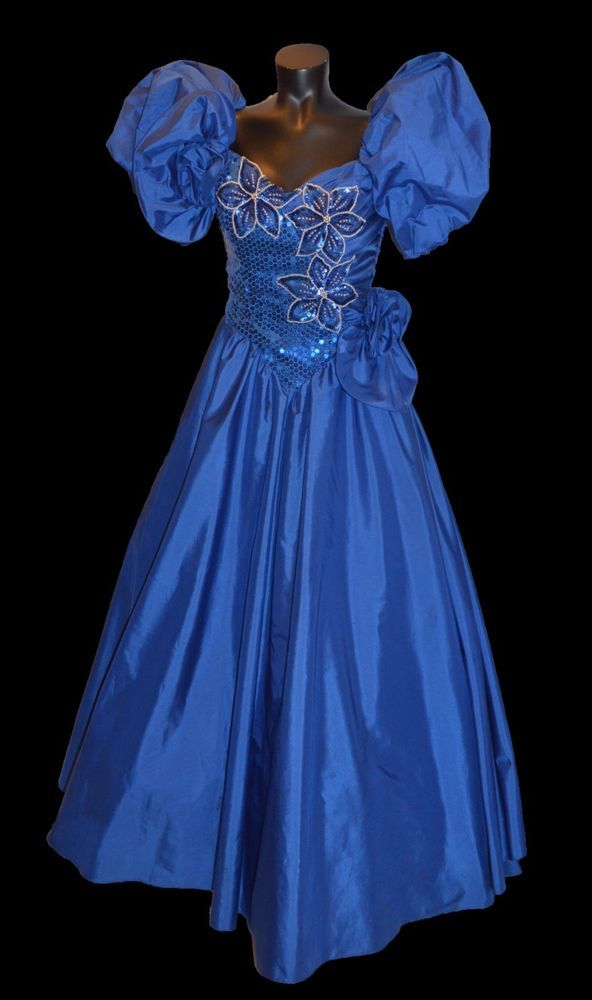 Alyce Designs Vintage 80s Blue Sequin Ball Gown Party Prom Dress