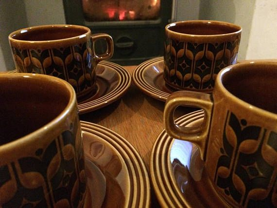 x4 Vintage Hornsea Pottery Heirloom cups & saucers / Autumnal