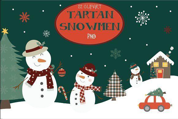 Tarts snowmen clipart by Poppymoondesign on @creativemarket