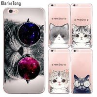 Supper Cute Cartoon Cat Case For iphone 6 plus 6s Plus Clear with Design TPU Cell Phone Cases Capa Para