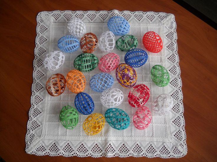 Velikonoční háčkované vajíčko - 50,- Kč za jedno vajíčko  Materiál 100% bavlna  Škrobeno Alba efektem  | vavavu