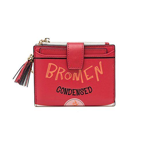 22d6870f1a71f Bromen Geldbörse Damen Geldbeutel Portemonnaie mit Reißverschluss Münzfach  und Druckknopf Damen Mädchen Rot Grün