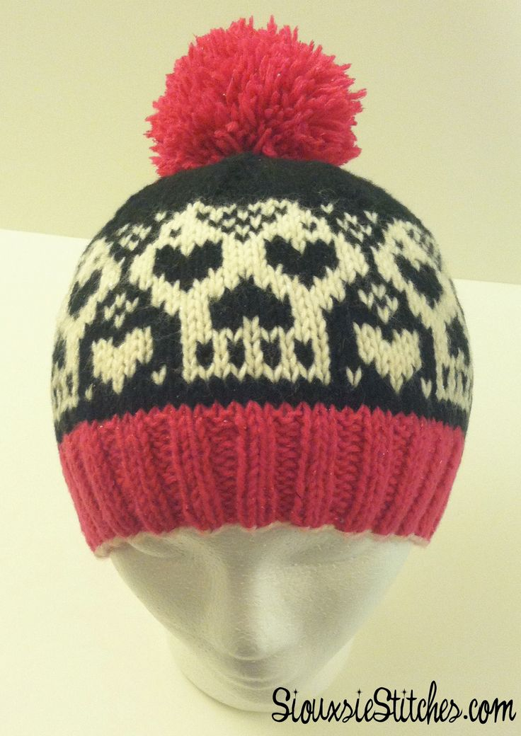 The Heartskull Hat - a free knitting pattern by SiouxsieStitches.com Colorw...