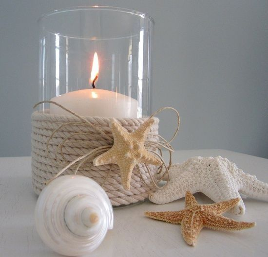 Beach house decor.  Twine, starfish, candle.  https://www.etsy.com/shop/pinkfishjewelryshop