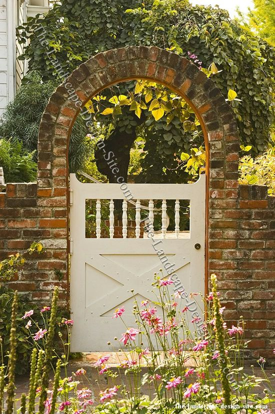Not only the gate itself but also the framework such as the archway here is an opportunity to add atmosphere to your landscaping ideas or garden.