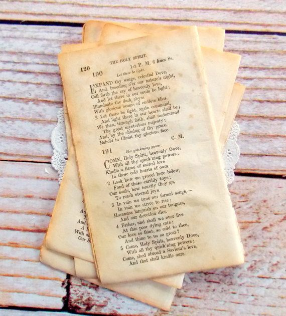 Old Hymnal Pages / 10 Pieces / Vintage by vintagescrapshop on Etsy