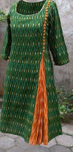 Ikat Pleated Kurta..Get this look by Fab Darzi