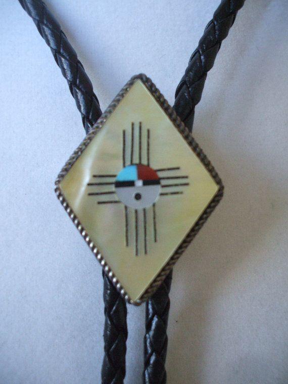 Vintage ZUNI Inlay Sterling Silver ZIA SunFace Bolo Tie ...