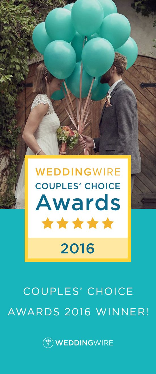 Our recent reviews have earned us the WeddingWire Couples' Choice Awards 2016, which means we're in the top 5% of wedding professionals for excellence in quality, service, responsiveness, and professionalism. Thanks to all our clients who reviewed us this year!
