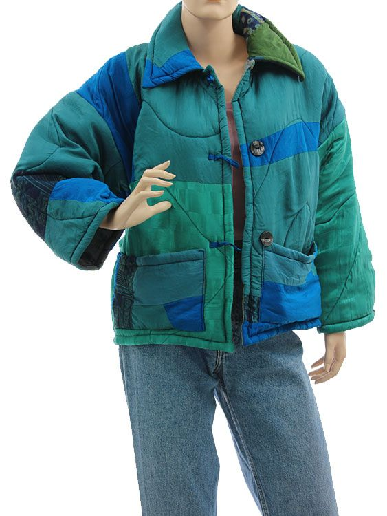 Boho artsy silk coat jacket, patchwork blue teal green M L - Artikeldetailansicht - CLASSYDRESS Lagenlook Art to Wear Women's Clothing